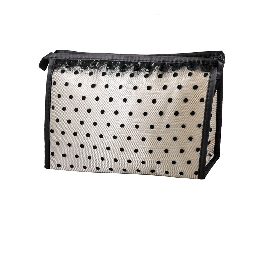 Zip up Light Gray Black Dotted Mesh Lace Mirror Makeup Cosmetic Bag Case Holder
