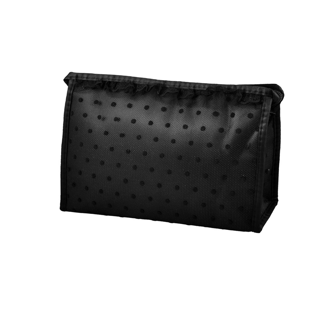 Pure Black Lace Dots Mesh Makeup Cosmetic Hand Bag Pouch Blusher Mascaras Holder