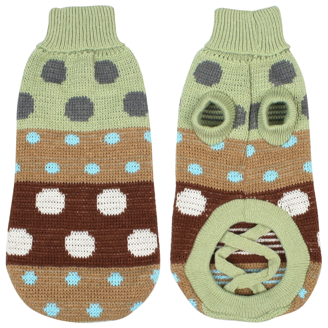 Winter Turtleneck Multicolor Polka Dot Pet Dog Sweater Apparel Pale Green M