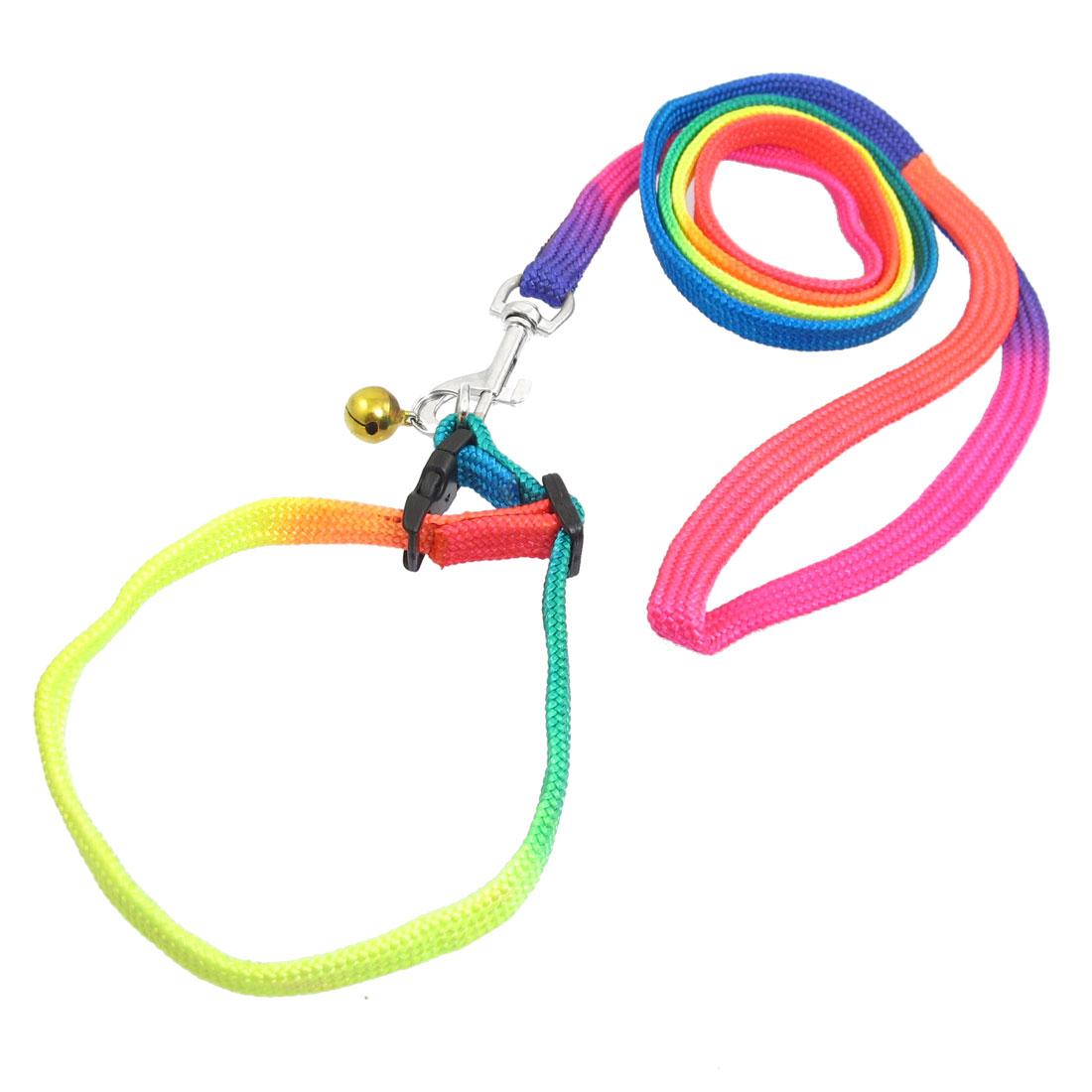 Gold Tone Jingle Bell Decor Rainbow Nylon Adjustable Dog Leash 1.36M w Trigger Hook