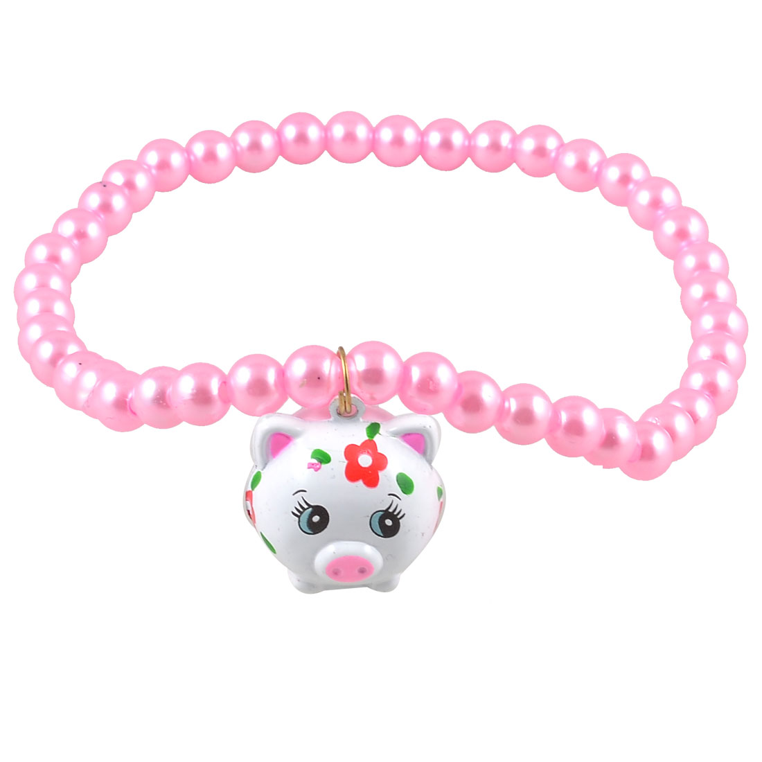Pink Imitation Pearl White Metal Pig Shape Jingle Bell Pendant Pet Dog Cat Necklace