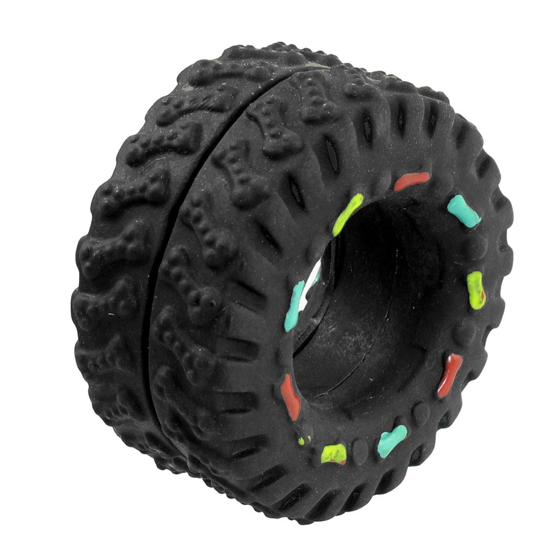 Vinyl Rubber Tire Tyre Shaped Bone Pattern Squeaky Dog Cat Pet Toy Black