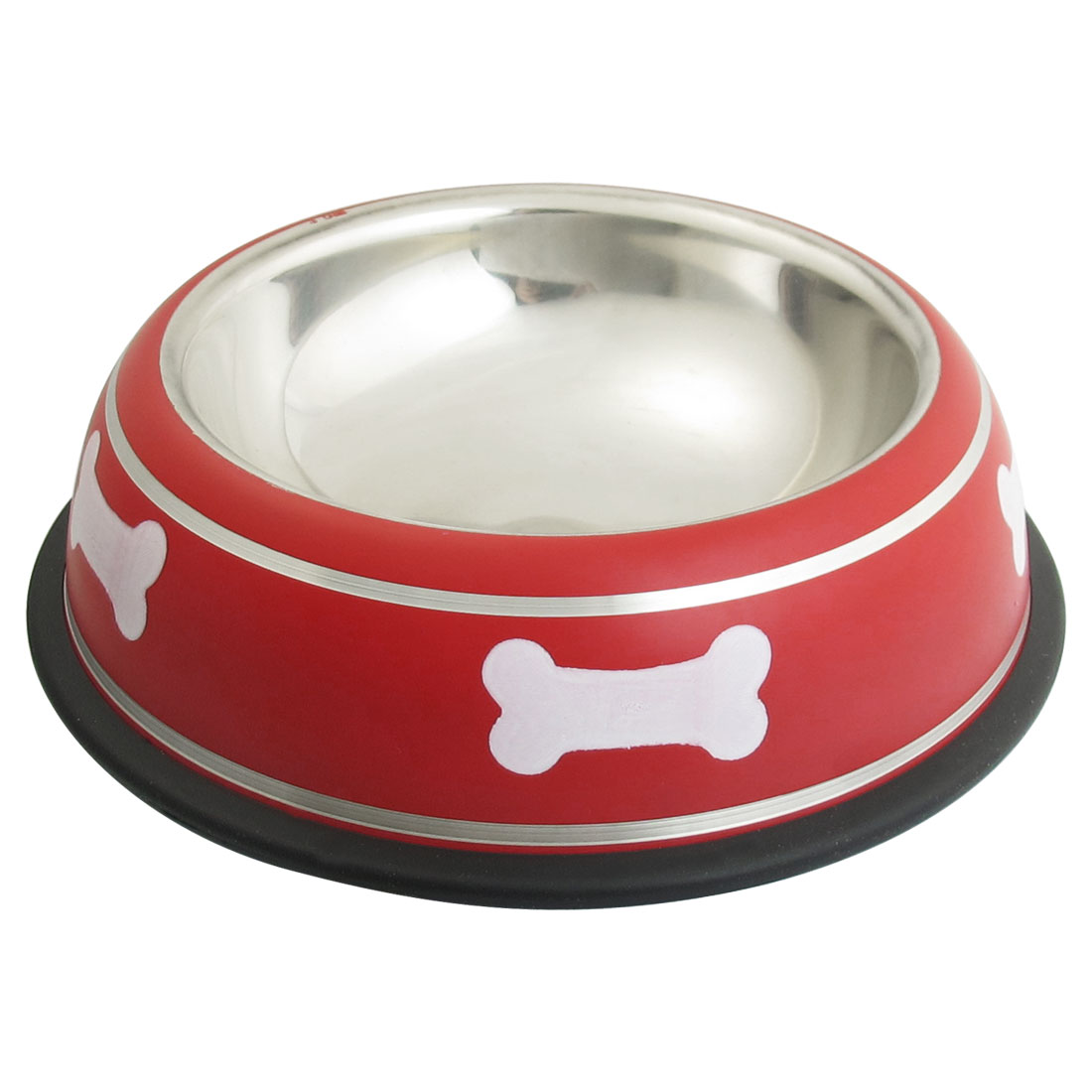Stainless Steel Bone Print Nonslip Base Cat Pet Dog Feeding Feeder Water Food Bowl Red