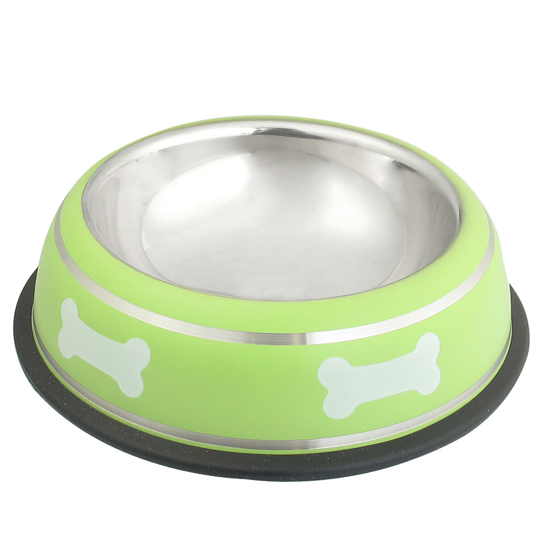 Stainless Steel Bone Print Nonslip Base Cat Pet Dog Water Food Bowl Green