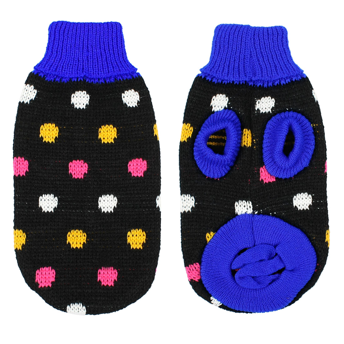 Pet Dog Turtleneck Sweater Coat Multicolor Dot Clothes Black Blue XS