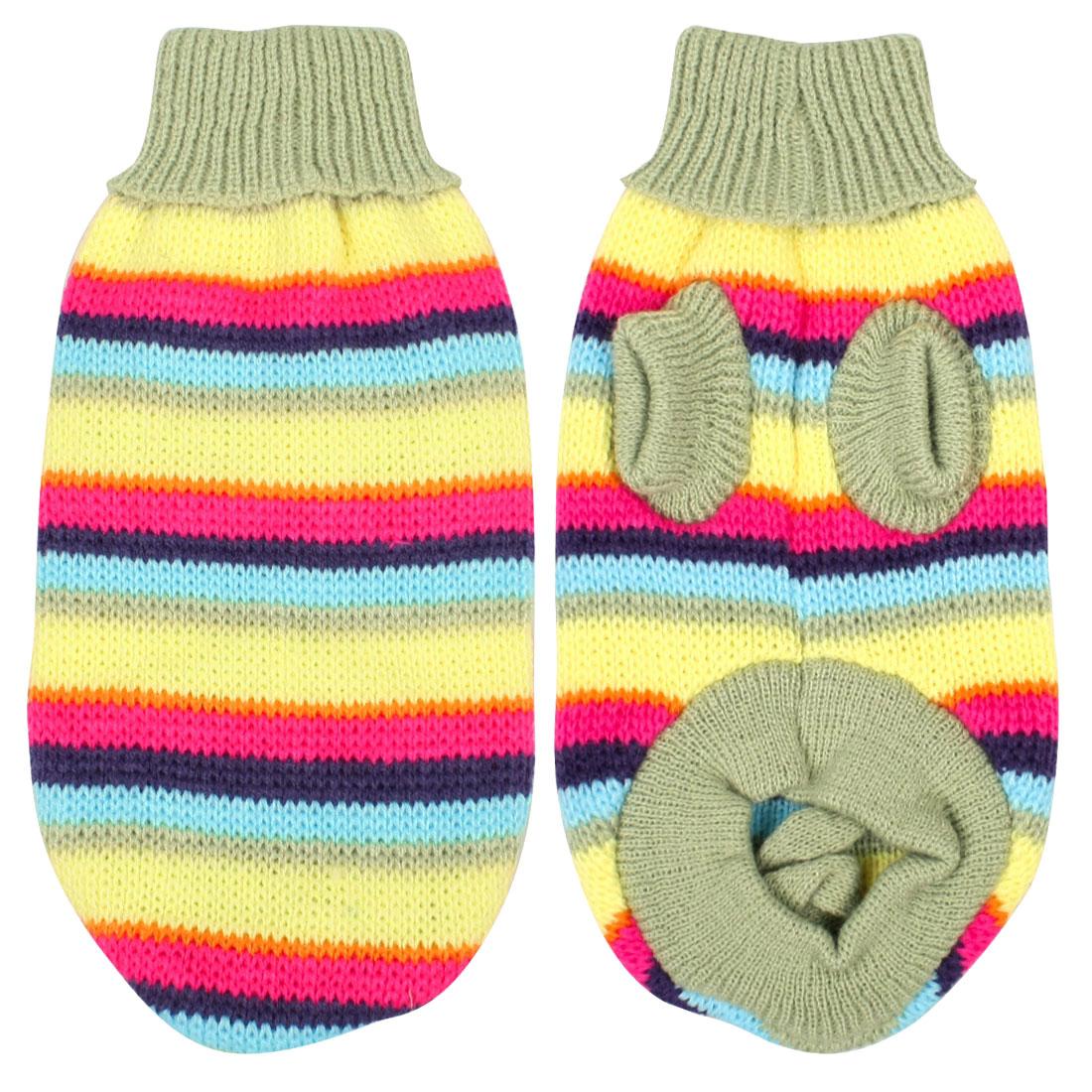 Pet Dog Puppy Sweater Knitwear Clothes Warm Turtleneck Striped Green M