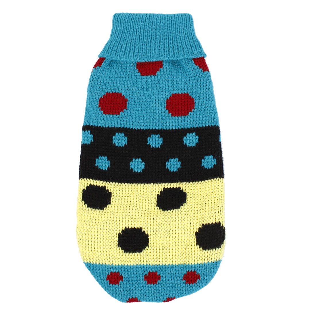 Turtleneck Colored Dot Coat Pet Dog Sweater Apparel Teal Green XS
