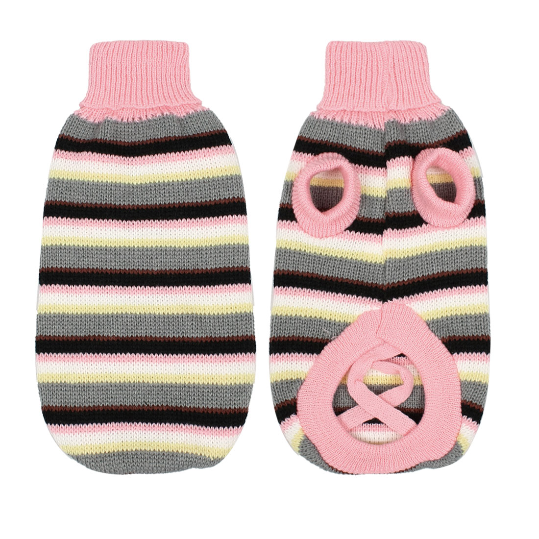 Pet Dog Clothes Sweater Apparel Pink Winter Multicolor Striped Knitwear S