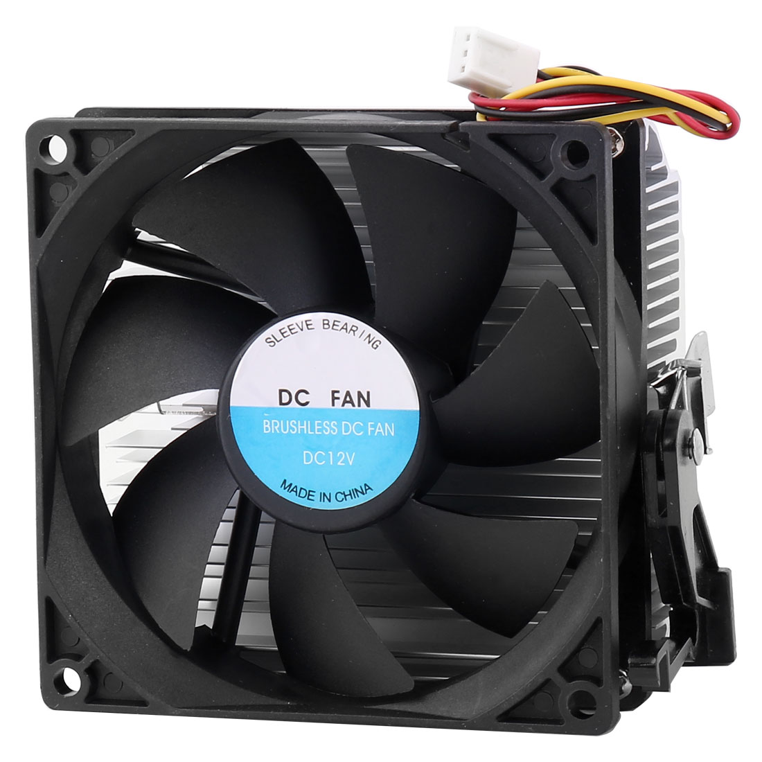 Black Silver Tone 3 Poles Connector CPU Cooling Fan Heatsink for Desktop