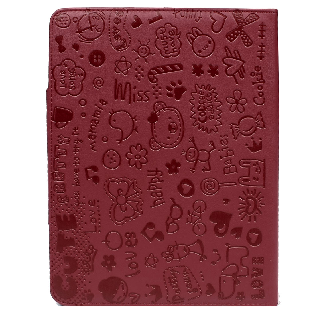 Red Animals Faux Leather Folio Stand Case Cover for iPad 2 3