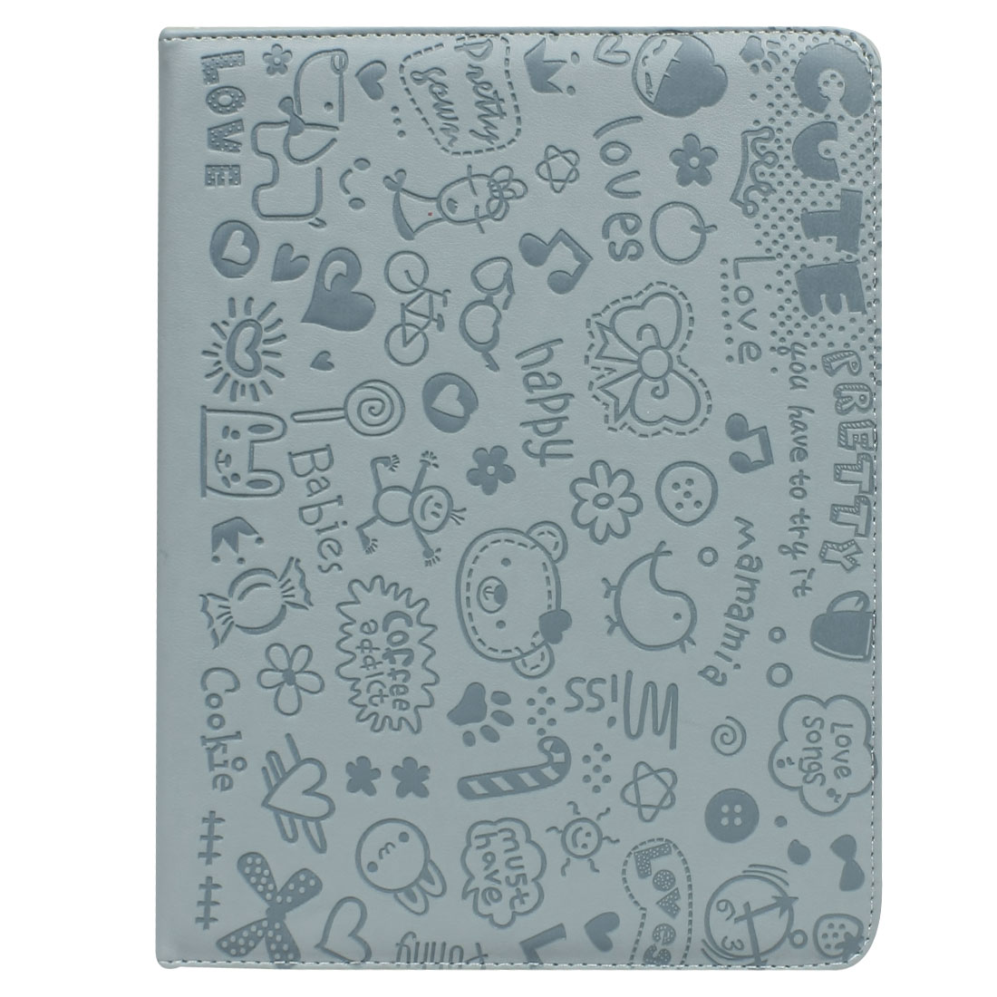 Light Blue Flowers Faux Leather Folio Stand Case Cover for iPad 2 3