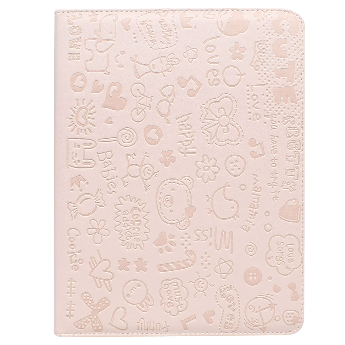 Pink Flowers Faux Leather Folio Stand Case Cover Pouch for iPad 2 3