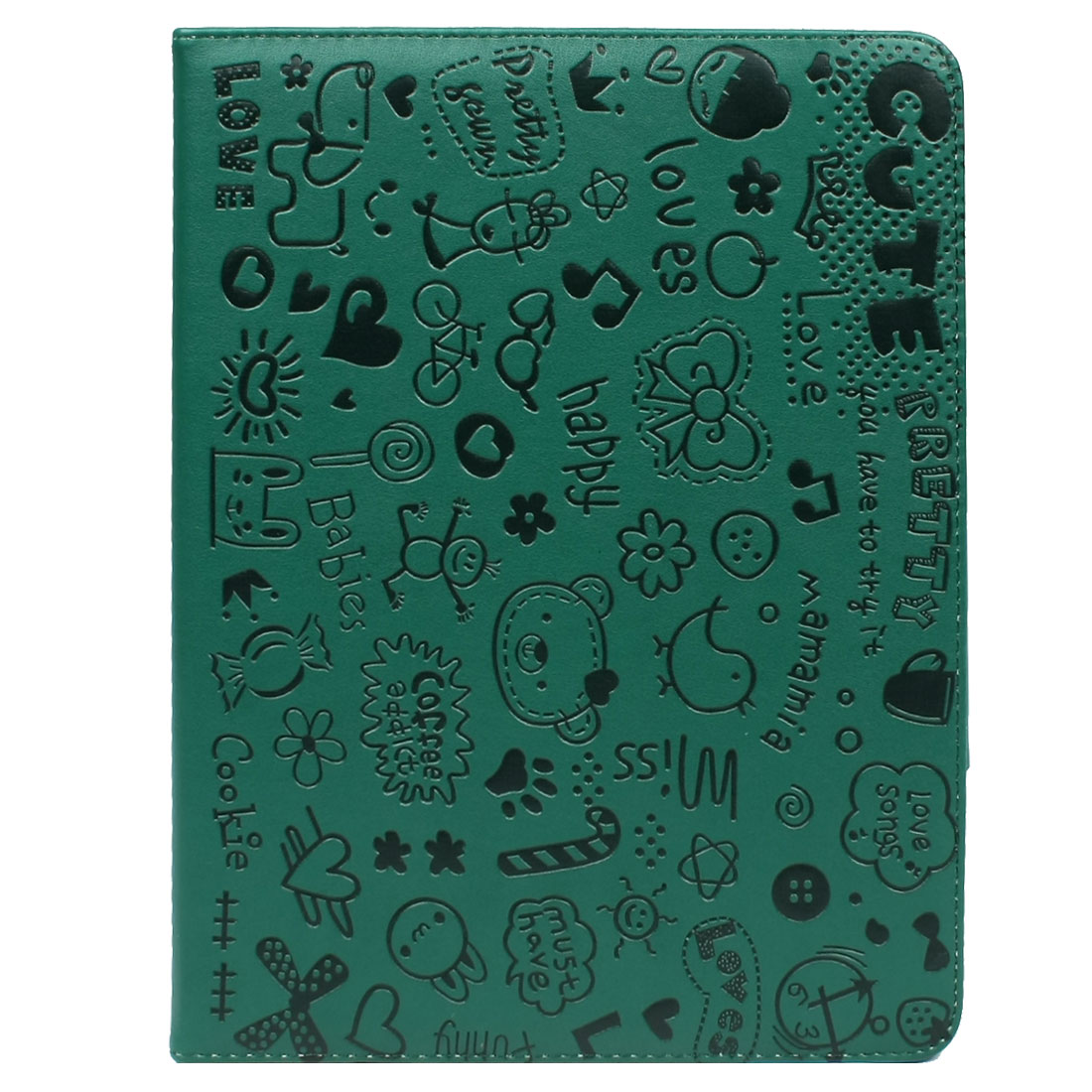 Green Black Flowers Faux Leather Folio Stand Case Cover Protector for iPad 2 3