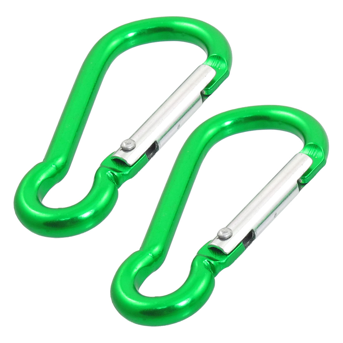 Green Aluminum Alloy Spring Loaded Lock Carabiner Hiking Clip Hook Pair