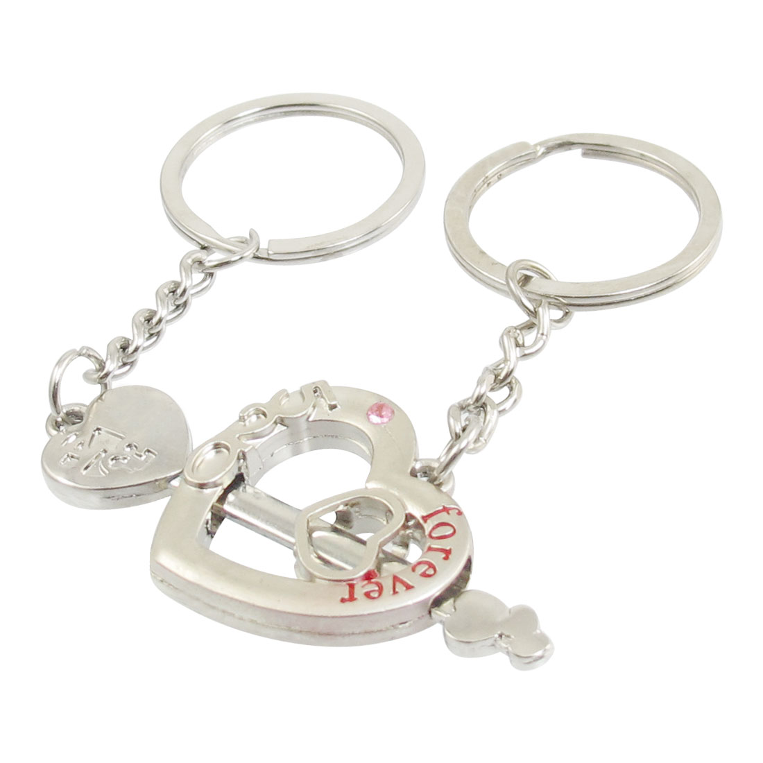 Couple LOVE YOU Forever Cupid Arrow Through Heart Keychain Pair