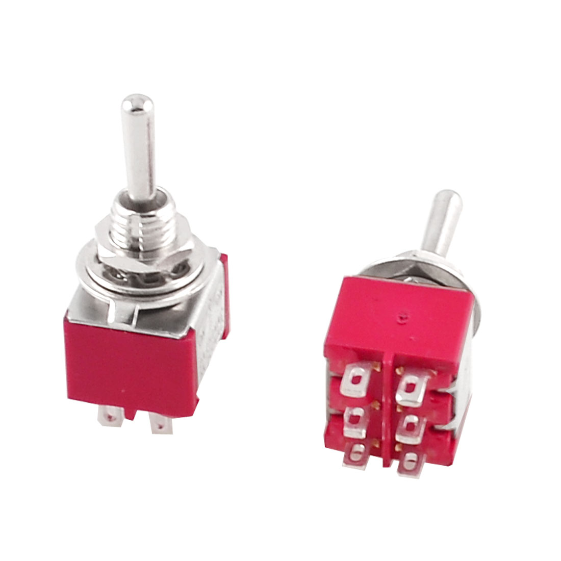 Red 5A/120VAC 2A/250VAC Toggle Switches 3 Position DPDT 2 Pcs