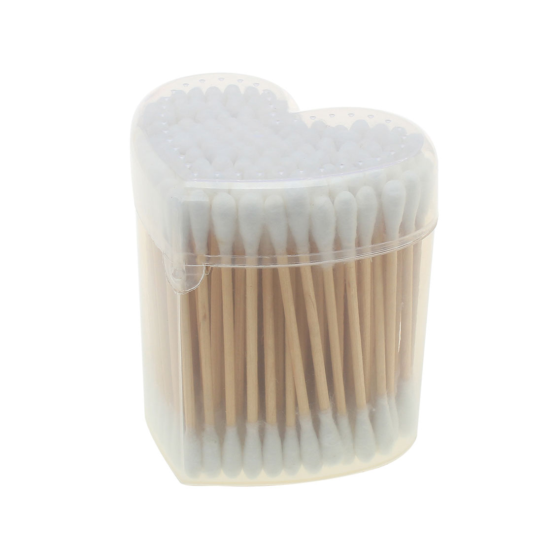 White Makeup Wood Double Head Cotton Buds Swabs 100 Pcs w Heart Shape Case
