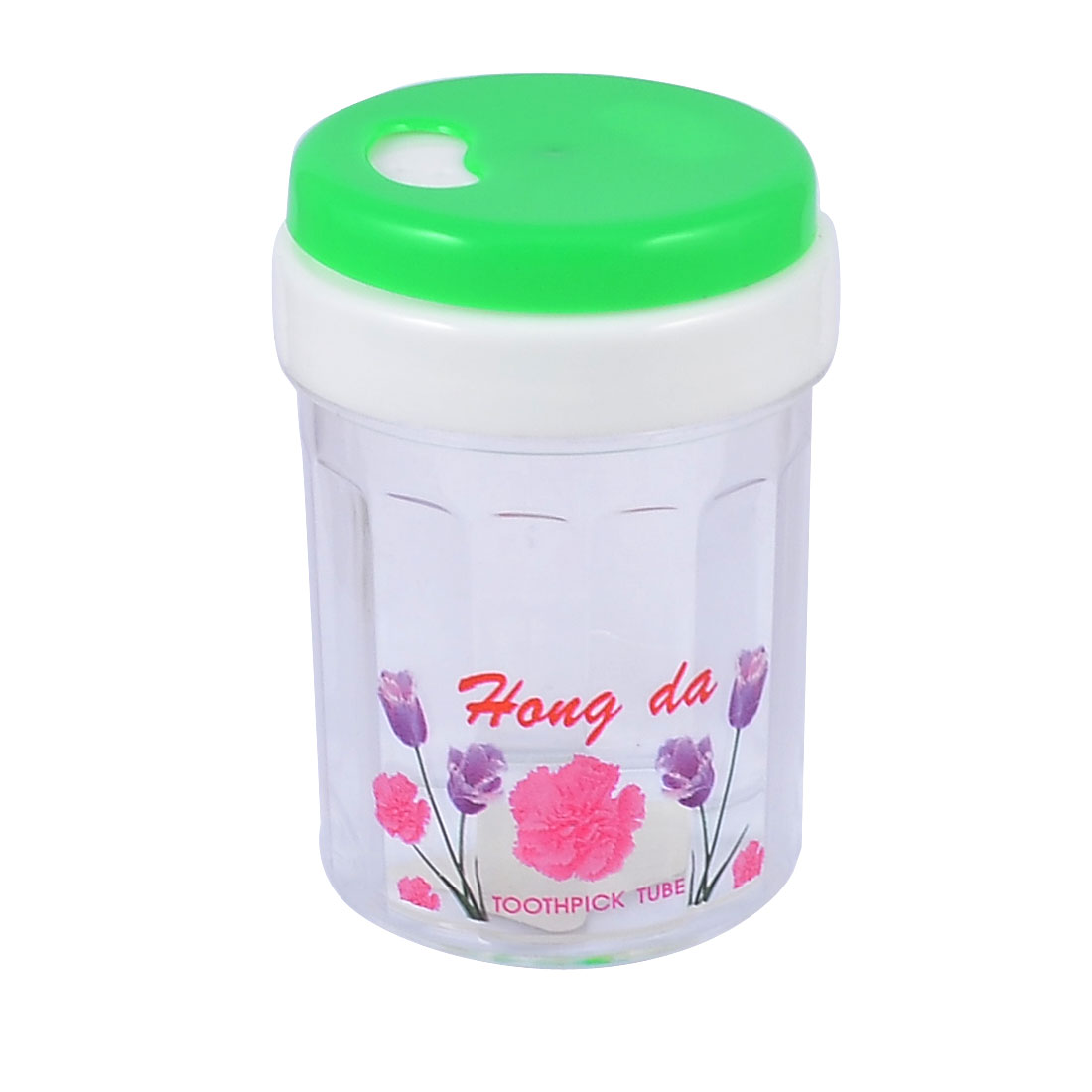 Green Clear Cylinder Shape Flower Pattern Plastic Toothpick Holder Container