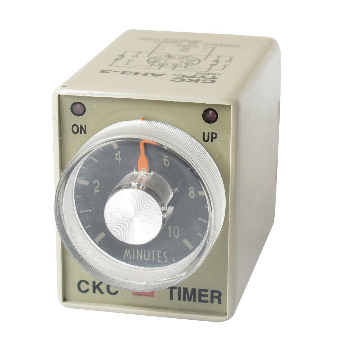 380VAC 10min 0-10 Minutes DPDT 8 Pin 8P Terminals Delay Timer Time Relay AH3-3