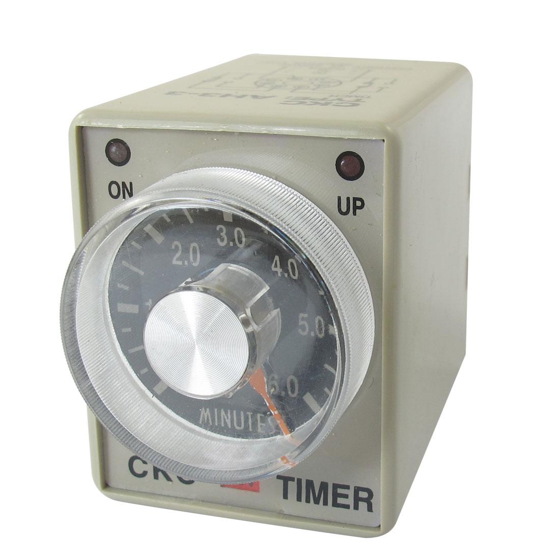380VAC 6min 0-6 Minutes DPDT 8 Pin 8P Terminals Delay Timer Time Relay AH3-3