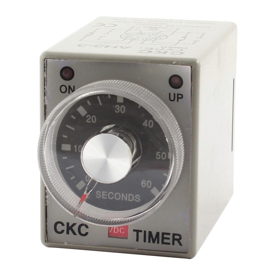 12VDC 60sec 0-60s DPDT 8 Pin 8P Terminals Delay Timer Time Relay AH3-3