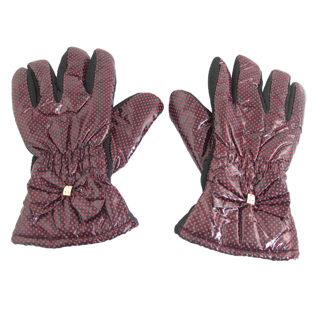Nonslip Palm Design Bowknot Decor Full Finger Winter Gloves for Women
