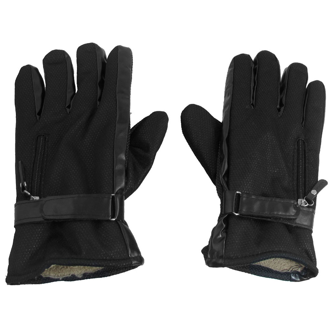 Man Antislip Dotted Design Hook Loop Fastener Warmer Gloves Black