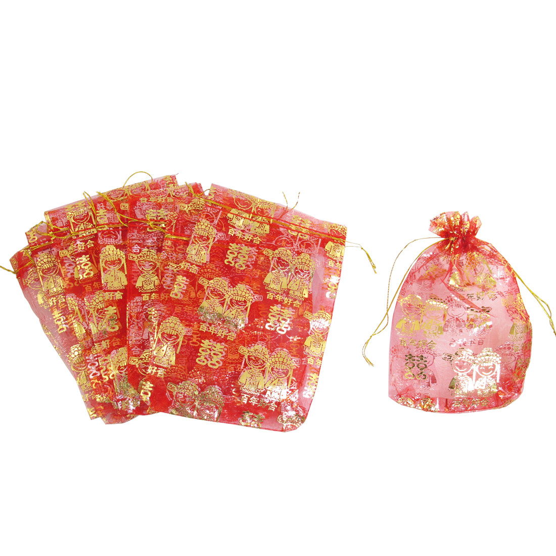 10 Pcs Chinese Bridegroom Bride Pattern Red Organza Wedding Candy Bag