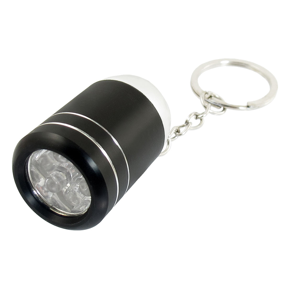 Black Alloy Shell Wine Bucket Shaped White 6 LEDs Flashlight Keyring