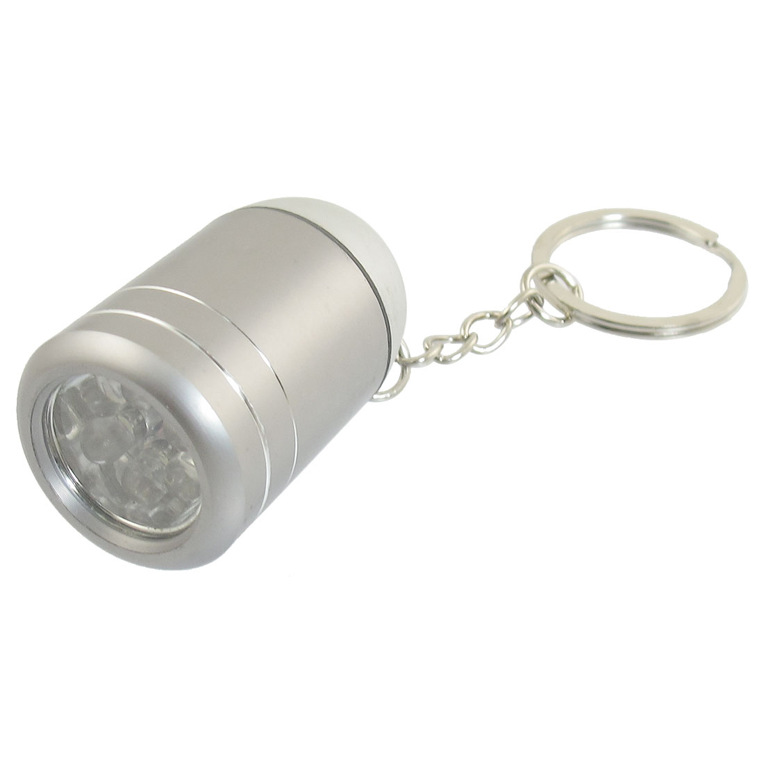 Wine Bucket Shape White 6 LEDs Slipt Ring Flashlight Torch Keyring Gray
