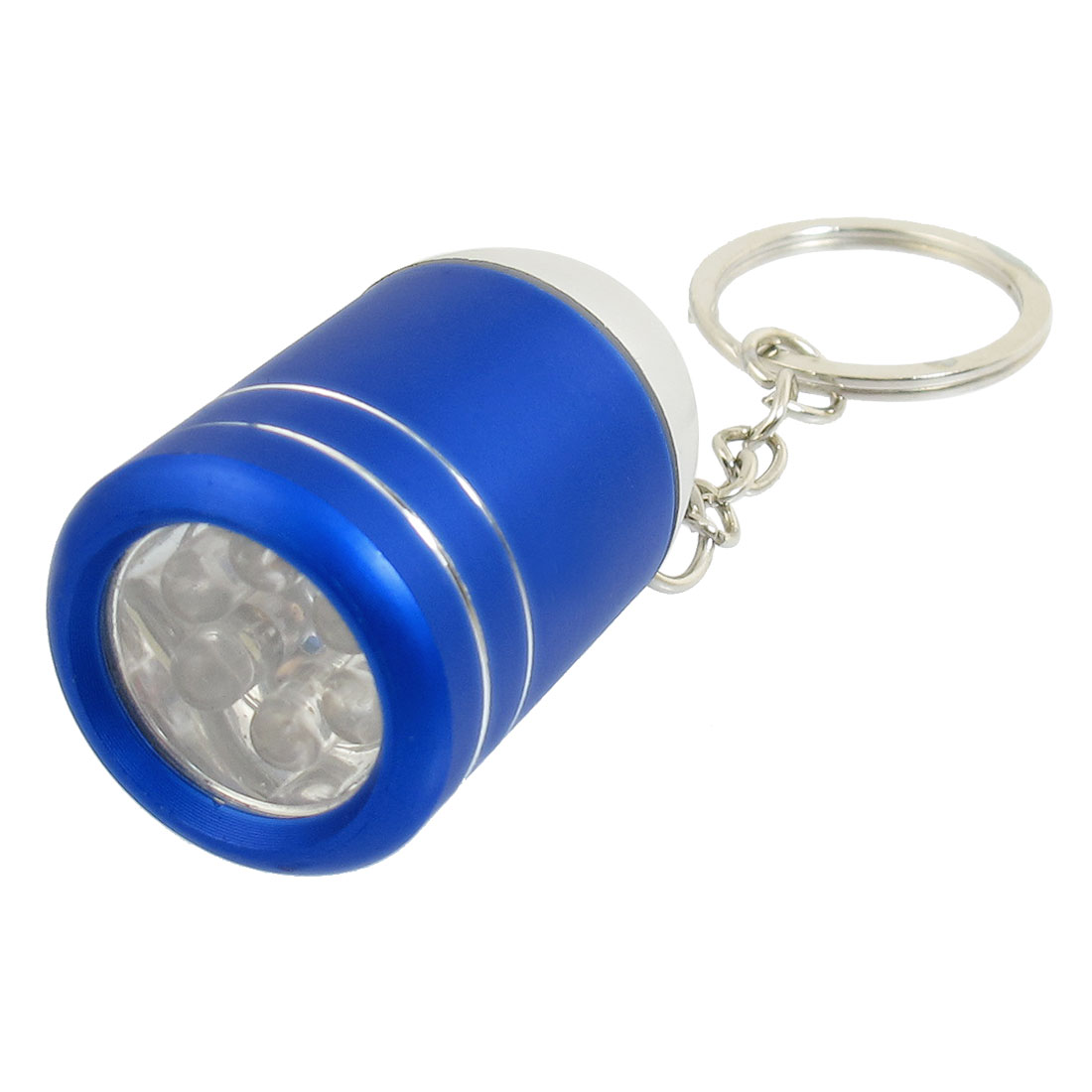 Wine Bucket Shape White 6 LEDs Slipt Ring Flashlight Torch Keyring Blue