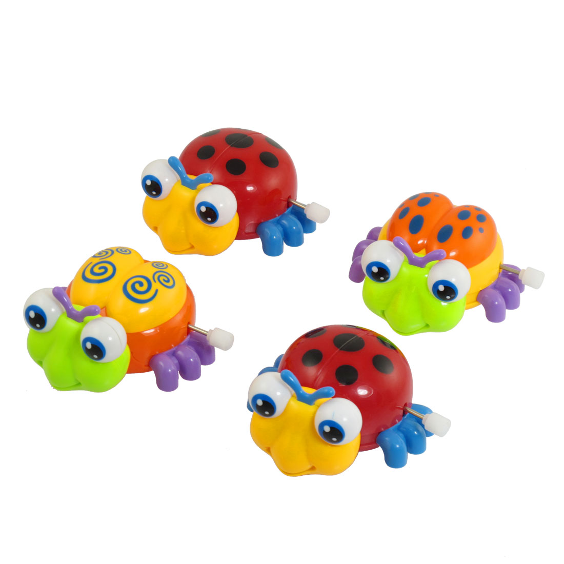 4 Pcs Children Plastic Headshake Beetle Wind Up Clockwork Toy
