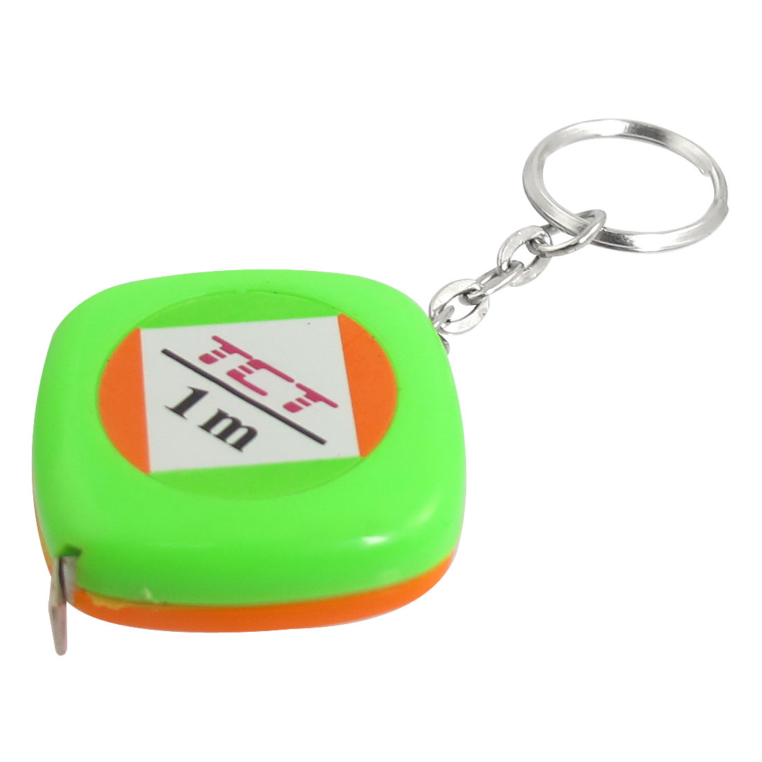 1M Length Green Orange Plastic Shell Retractable Measure Tape w Keyring