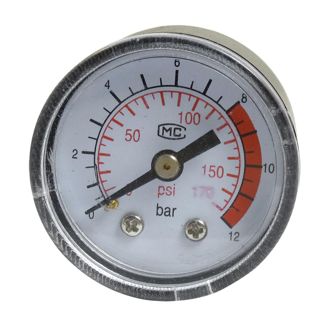 """Air Compressor Round Case 1/8""""PT Male Thread 0-170PSI 12 Bar Pressure Gauge"""
