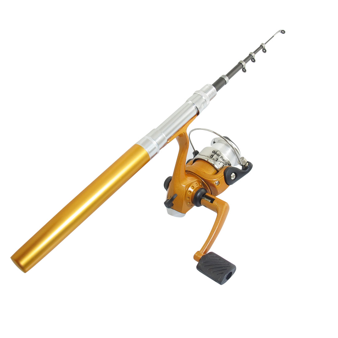 Portable 6 Sections Telescopic Mini Pen Fishing Rod Spinning Reel Gold Tone 42""