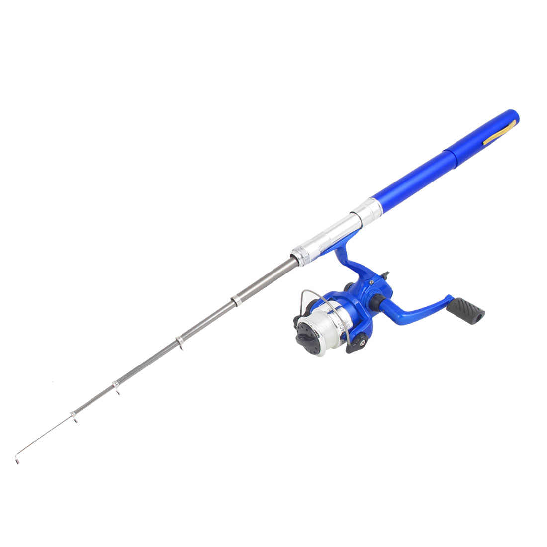 Aluminum Alloy Portable 6 Sections Mini Pocket Telescopic Pen Fishing Rod Spinning Reel Blue 3ft