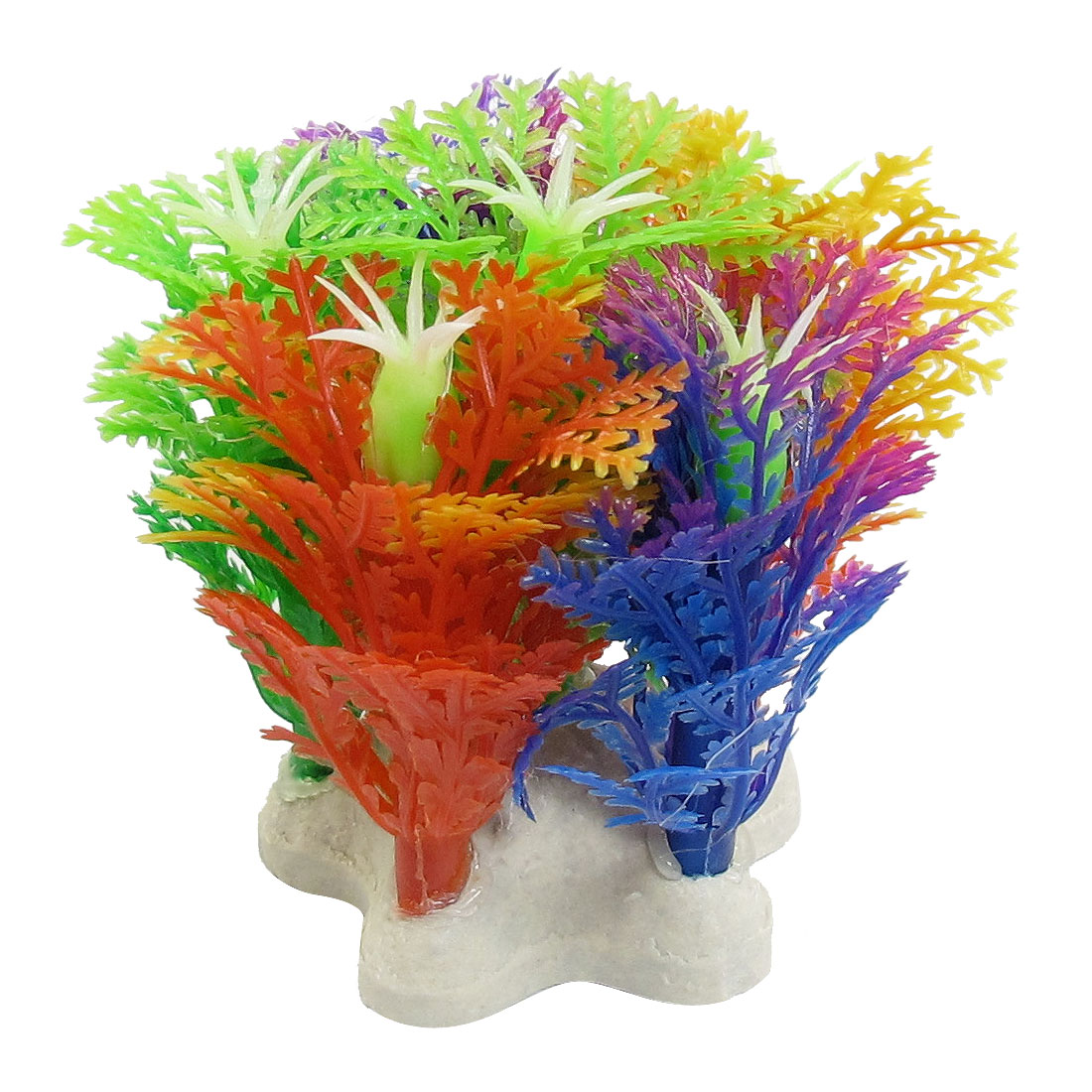 "2.4"" High Plastic Colorful Snowflake Shape Plants Grass for Fish Tank"