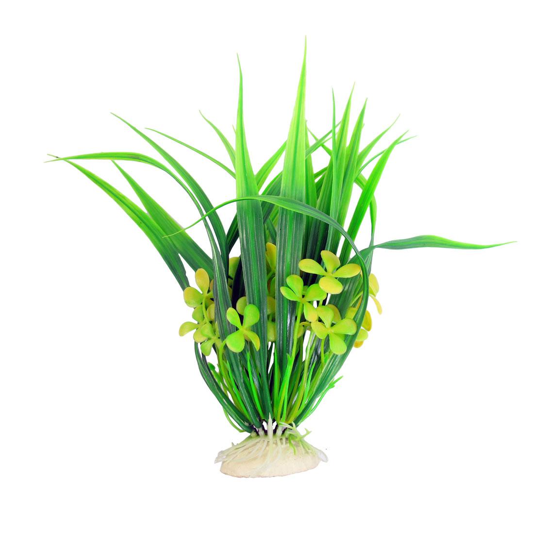 "Aquarium Yellow Plastic Leaves Flower Ornament Plastic Emulational Plant 9.4"" Height"