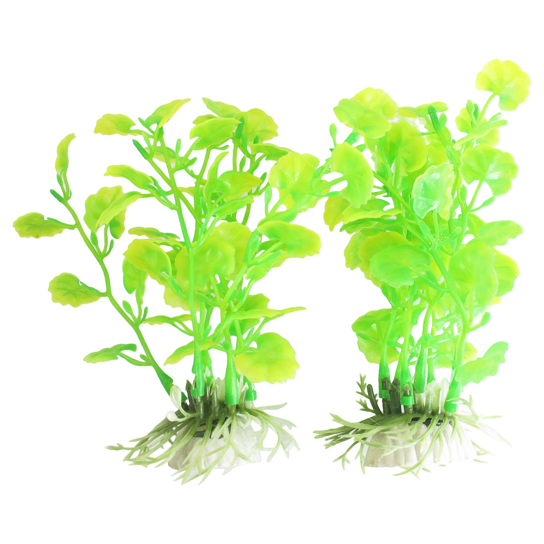 "2 Pcs 5.5"" High Plastic Plants Grass Green Yellow Decor for Fish Tank"