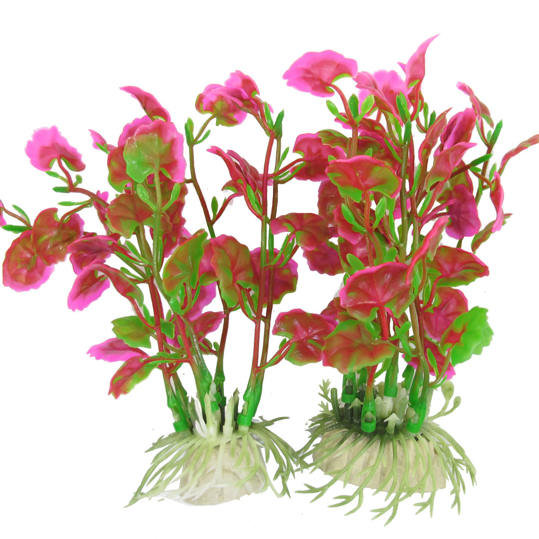 "2 Pcs 5.5"" High Plastic Plants Grass Ornamet Green Fuchsia for Fish Tank"