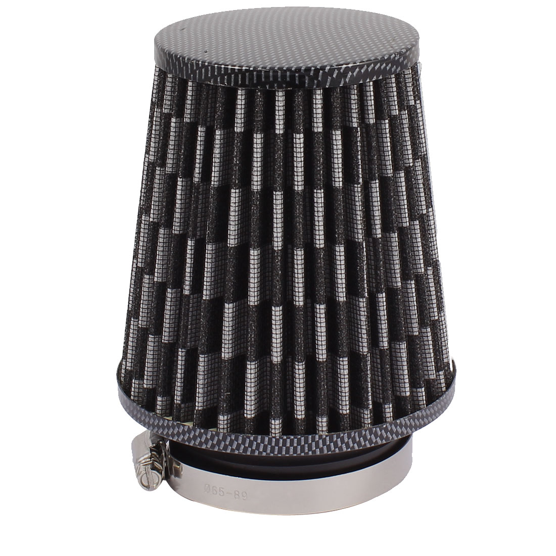 "Auto Car Black White Fiber Mesh Cone 76mm 3"" Inlet Dia Conical Air Filter"