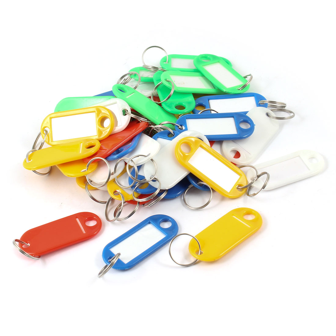 40 Pcs Split Ring Assorted Color Plastic ID Tags Name Card Label Key Holder