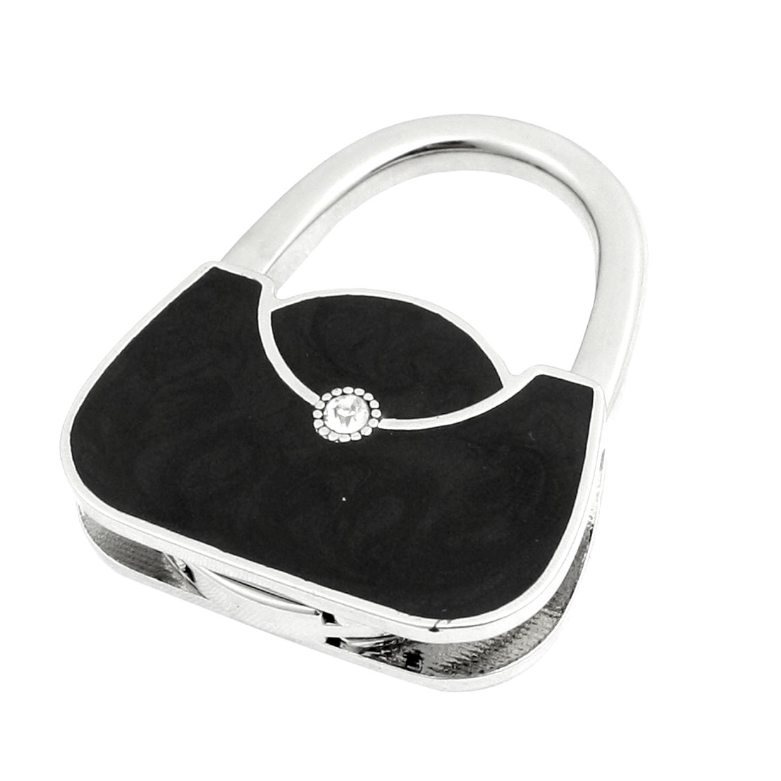 Lady Glitter Rhinestone Handbag Shape Black Metal Foldable Purse Bag Hook Hanger