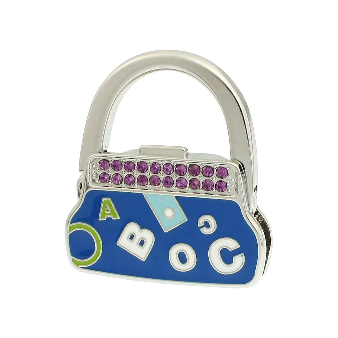 Glitter Rhinestone Letter Pattern Blue Handbag Purse Bag Foldable Hook Hanger