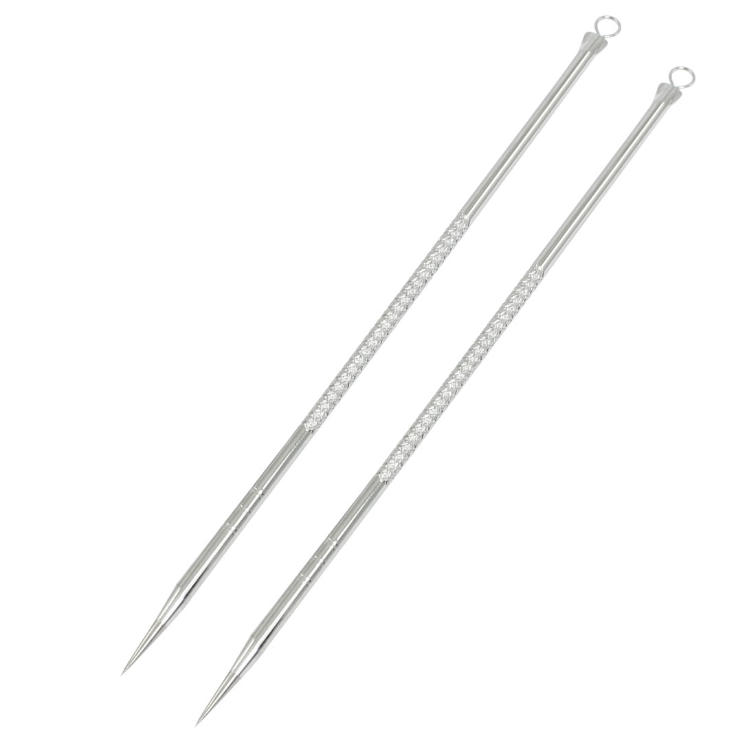 "4.9"" Long Double Headed Acne Blackheads Extractor Remover Needle Silver Tone 2 Pcs"