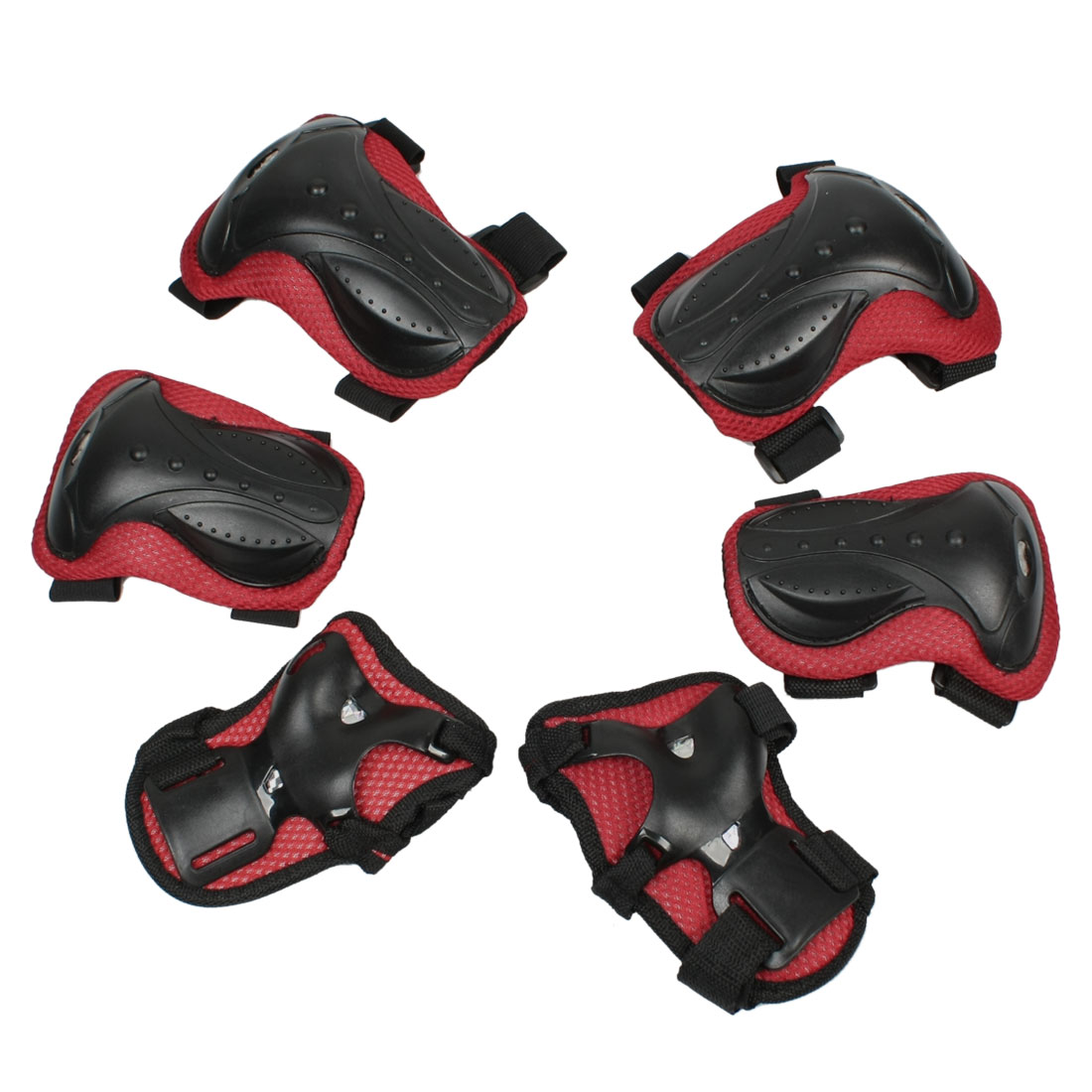 Set 6 in 1 Skating Palm Elbow Knee Support Pad Protector Red Black for Children