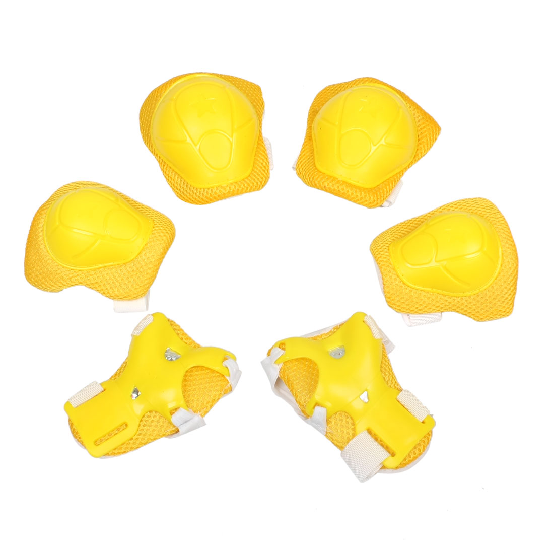 Set 6 in 1 Kids Roller Skating Palm Elbow Knee Support Protector Yellow White