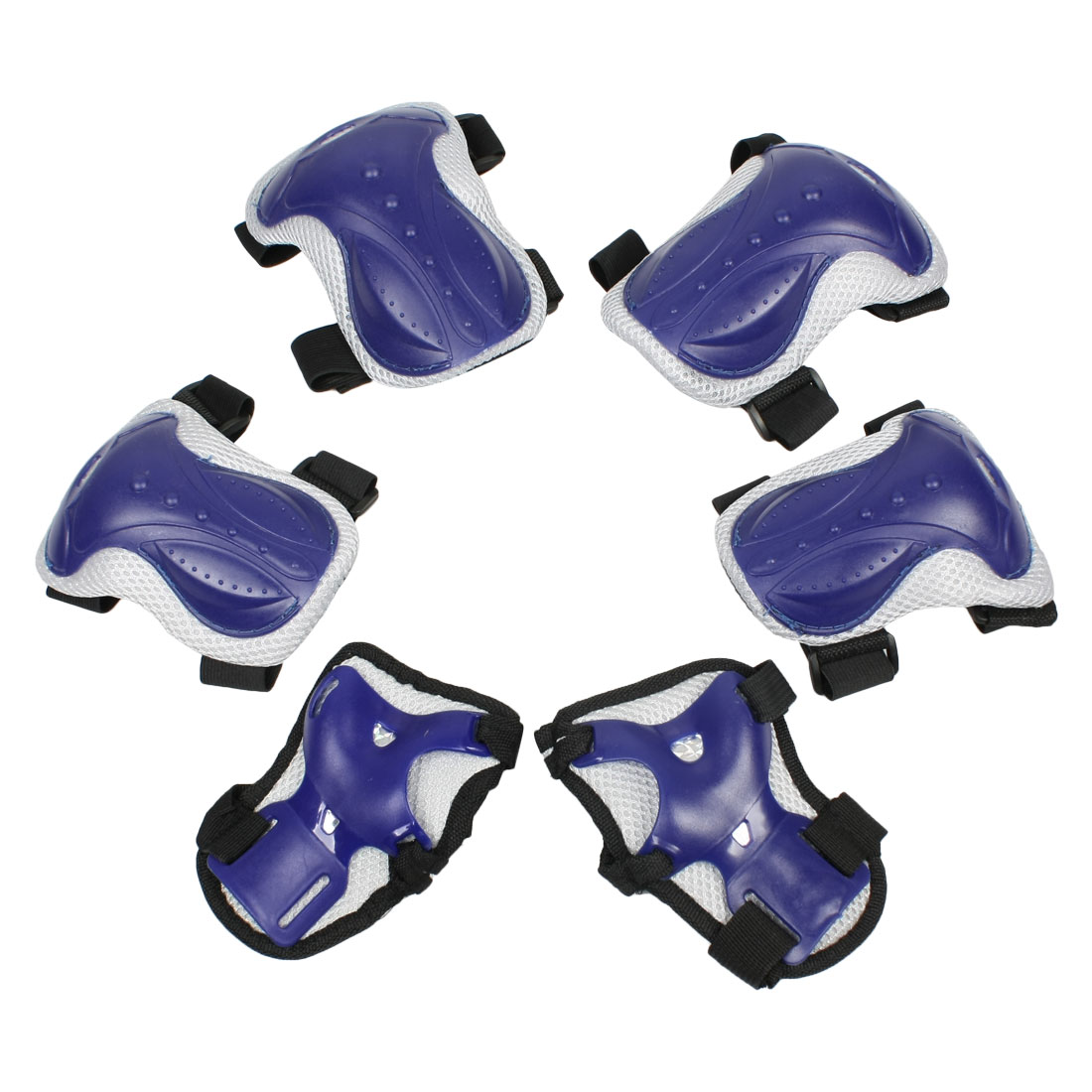 Set 6 in 1 Skating Palm Elbow Knee Support Protector Guard Blue Black for Child