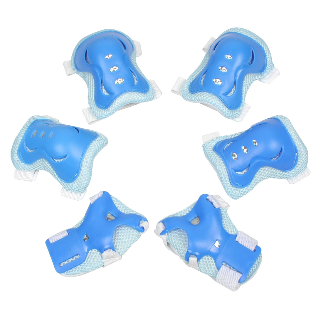 Set 6 in 1 Kids Skating Palm Elbow Knee Support Protector Brace Sky Blue White