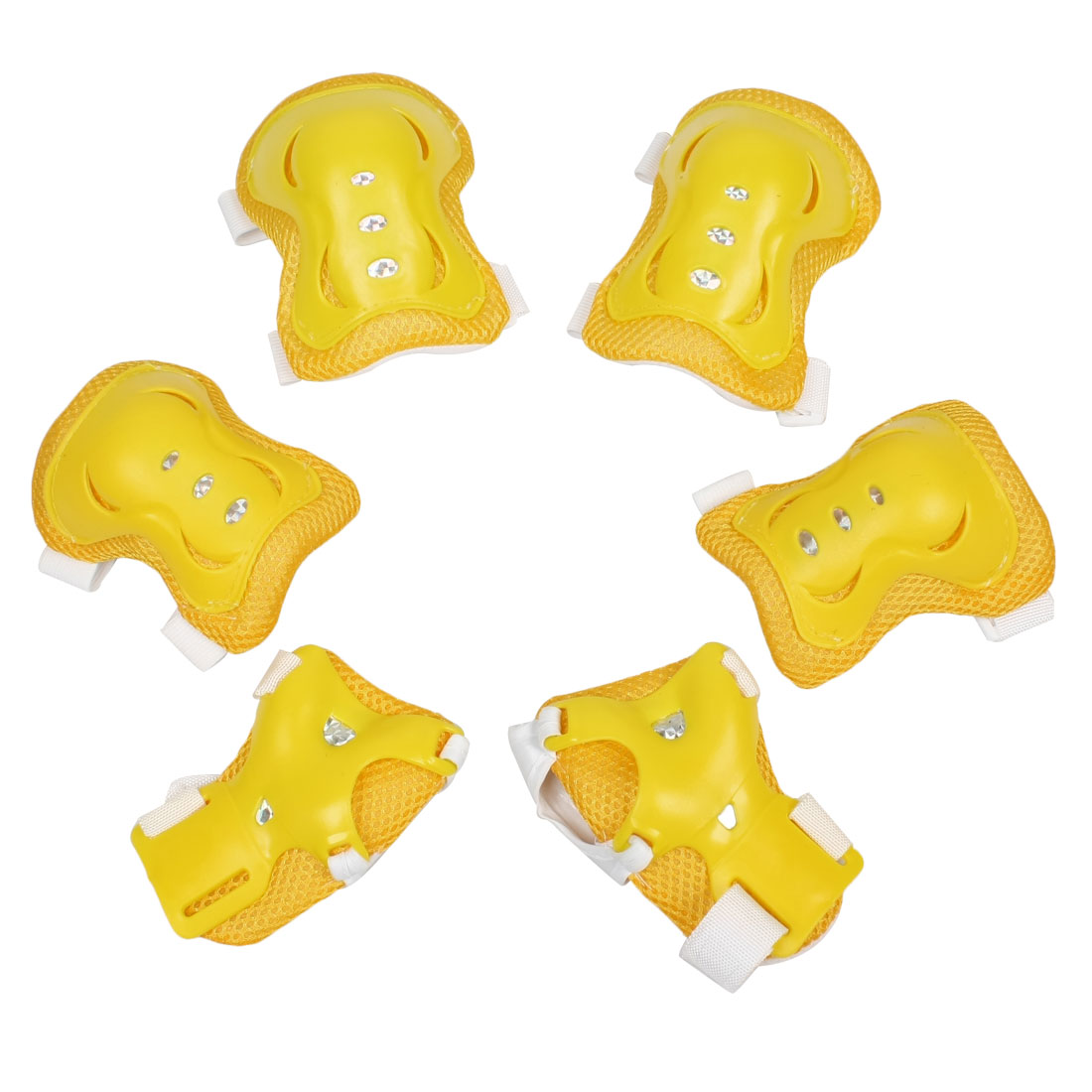 Set 6 in 1 Children Skating Palm Elbow Knee Support Guard Protector Yellow White